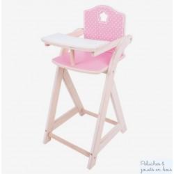 Chaise haute rose et blanche en bois pour poupée