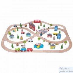 Bigjigs Grand Circuit de train en bois Ville et Campagne BJT015
