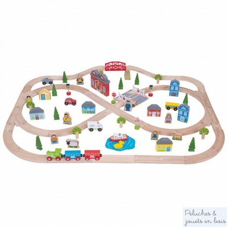 Circuit de train en bois Ville & Campagne