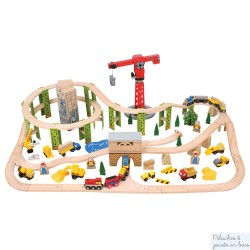 Bigjigs Grand circuit de train en bois avec chantier de construction