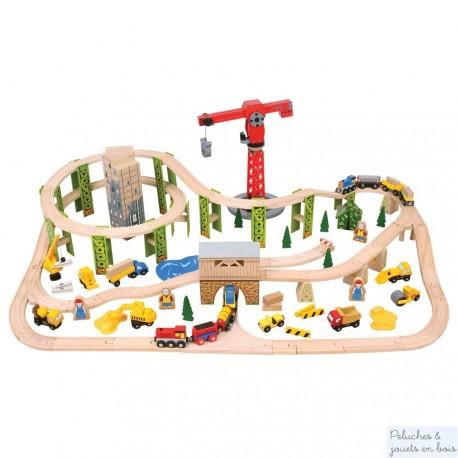 Bigjigs Grand circuit de train en bois avec chantier de construction