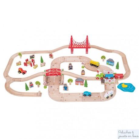 Bigjigs Circuit de train de campagne & circuit de voitures en bois