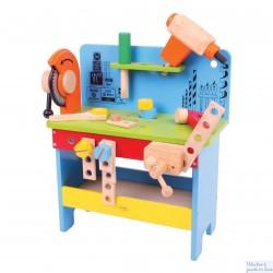 Bigjigs Etabli en bois Atelier avec 17 pièces en bois