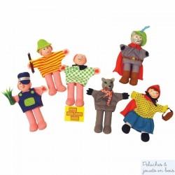 Bigjigs 6 marionnettes de doigt 3 petits cochons et chaperon rouge