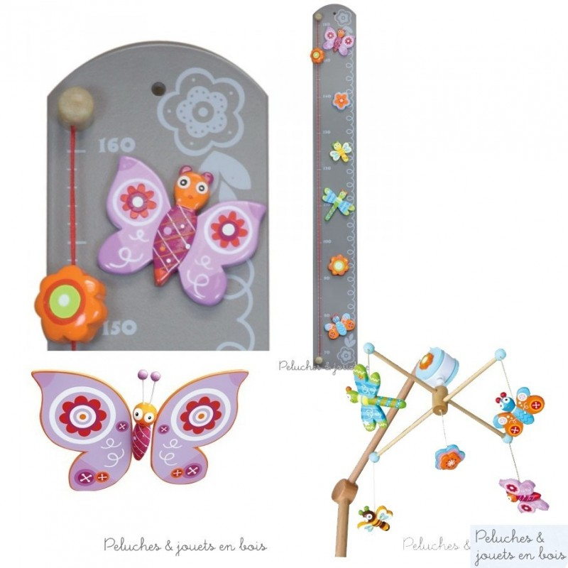 papillon mobile volant en bois color pour d corer la chambre d 39 enfant. Black Bedroom Furniture Sets. Home Design Ideas