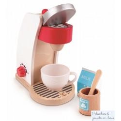 Machine à café avec accessoires de dinette en bois Hape E3146
