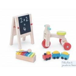 4 Accessoires de maison de poupée en bois, salle de jeux Le Toy Van
