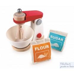 Robot mixeur blanc avec sac à farine et sucre Hape E3147
