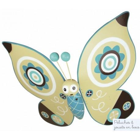 Mobile volant papillon bleu en bois coloré thème bucolique