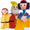 Ensemble 3 Marionnettes à main Blanche neige et les 7 nains