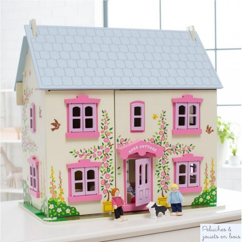 grande maison de poup e en bois 26 pcs 6 poup es en bois bigjigs 3 ans. Black Bedroom Furniture Sets. Home Design Ideas