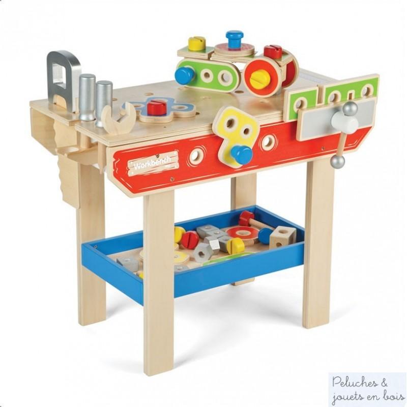 pour jouer au bricoleur bel atelier en bois avec outils 43 accessoires. Black Bedroom Furniture Sets. Home Design Ideas