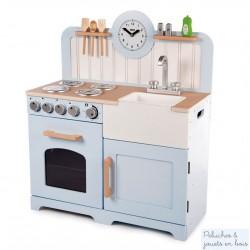 Cuisine en bois jouet bleu pastel style vintage Tidlo T0219