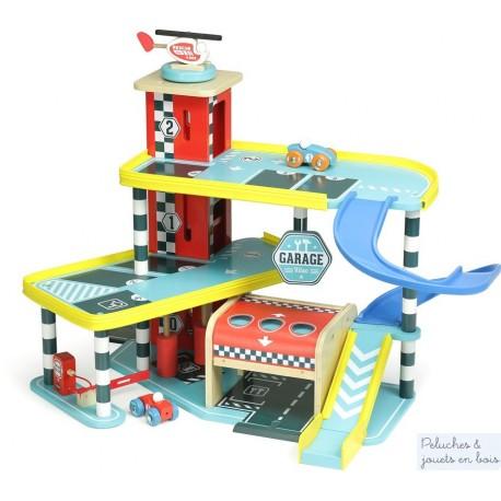 le grand garage Vilacity et 3 acc. jouet en bois Vilac