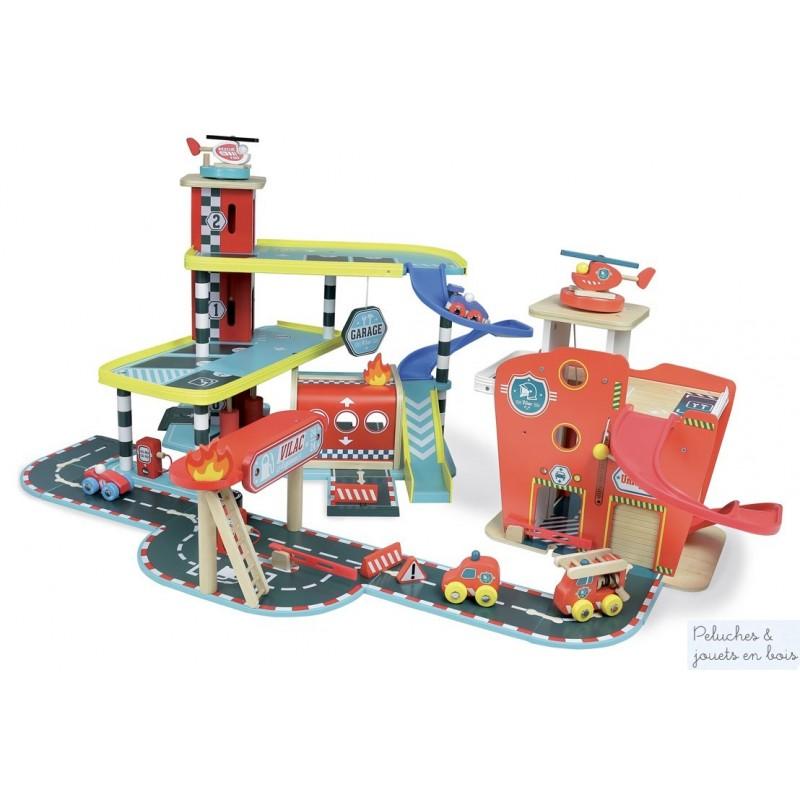 jouet bois vilac grand garage heliport ascenseur parking station service. Black Bedroom Furniture Sets. Home Design Ideas