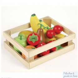 Caisse de fruits pour Jouer à la marchande Dînette en bois Tildo T0131