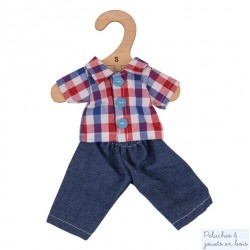 Chemise à carreau Pantalon jean de Poupée de chiffon 25 cm Bigjigs