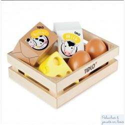Caisse de dinette d'oeufs et laitage en bois Tildo pour Jouer à la marchande