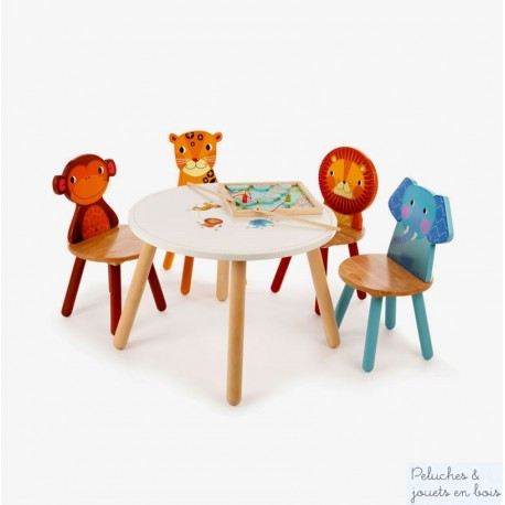 Meuble D Enfant En Bois Table Et Chaise Assorties Leopard Singe