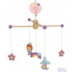 Mobile musical en bois thème Princesse Le coin des enfants