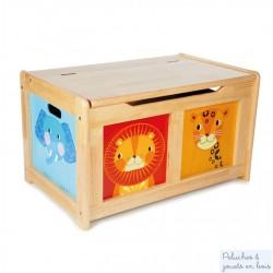coffre à jouets Animaux de la Jungle en bois naturel Tidlo