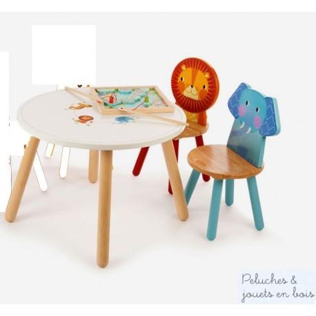 Table et 2 chaises en bois  Jungle Mobilier Enfant Tidlo