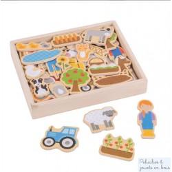 Bigjigs, Boîte de 35 magnets en bois thème ferme