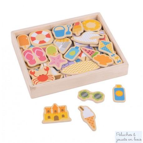 Bigjigs, Boîte de 35 magnets en bois thème bord de mer
