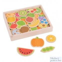 Bigjigs, Boîte de 35 magnets en bois thème Fruits et légumes