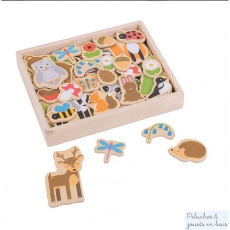 Bigjigs, Boîte de 35 magnets en bois thème forêt