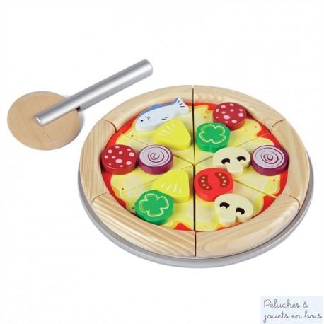 Pizza à découper jouet d'imitation en bois Tidlo T0105