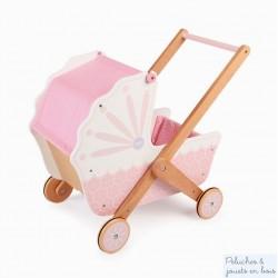 Landau rose et blanc en bois pour poupée Tildo T0213
