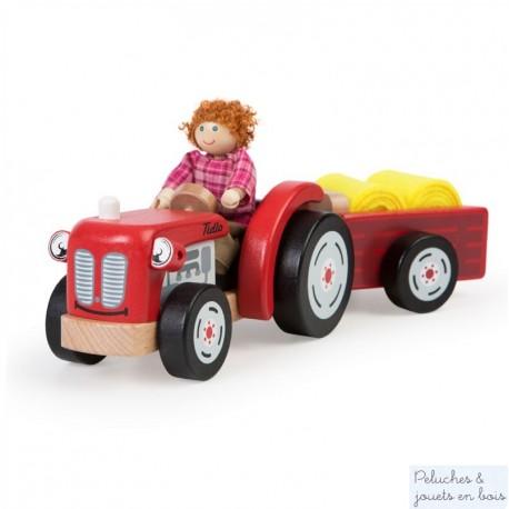 Tracteur et remorque rouges en bois Tidlo T0502