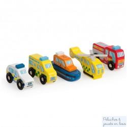 5 véhicules d'urgence en bois Jouet Tildo T0506