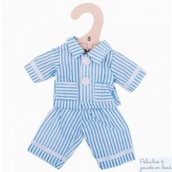 Bigjigs Veste et Pantalon de Pyjama bleu pour Poupée de chiffon 25 cm
