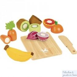 Fruits et Légumes à decouper Jour De Marché Dînette en bois Vilac 8106