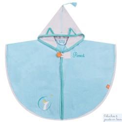 Cape de bain bleue avec capuche grise Prénom brodé personnalisable