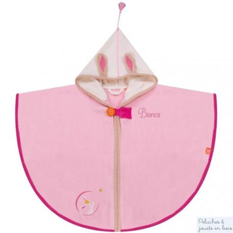 Cape de bain rose avec Prénom brodé personnalisable