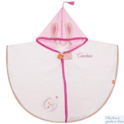 Cape de bain écrue avec capuche rose Prénom brodé personnalisable