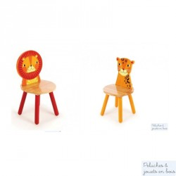 Pack 2 chaises en bois  Jungle Mobilier Enfant Tidlo Lion Leopard