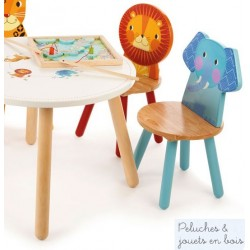 Pack 2 chaises en bois Jungle Mobilier Enfant Tidlo Elephant Lion