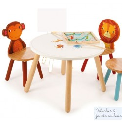 Pack 2 chaises en bois Jungle Mobilier Enfant Tidlo Lion Singe