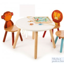 Table  Jungle & 2 chaises Lion Singe Mobilier en bois Enfant