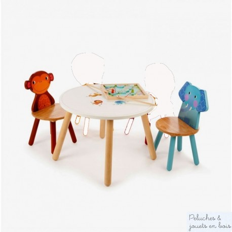 Table  Jungle & 2 chaises Elephant Singe Mobilier en bois Enfant