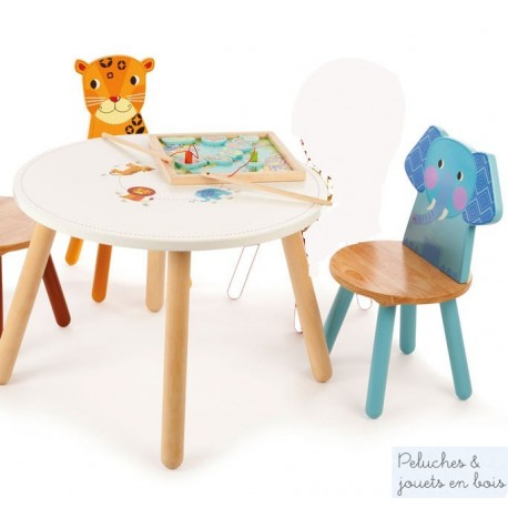 Table Jungle & 2 chaises Elephant Leopard Mobilier en bois Enfant