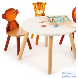 Table Jungle & 2 chaises Singe Leopard Mobilier en bois Enfant