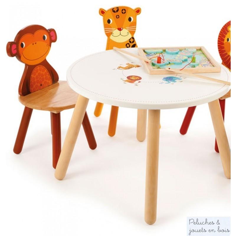 Meuble d 39 enfant en bois massif table chaises assorties - Table et chaise enfant bois ...