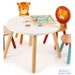 Table Jungle 2 chaises Lion Leopard Mobilier en bois Enfant