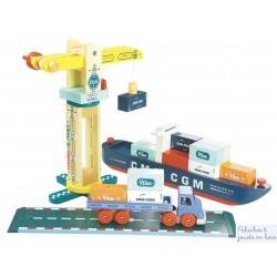 Bateau Porte Container Grue Docker Camion Univers de jeu magnetique en bois Vilac