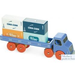 Camion Porte Container en bois aimanté Vilac 2358